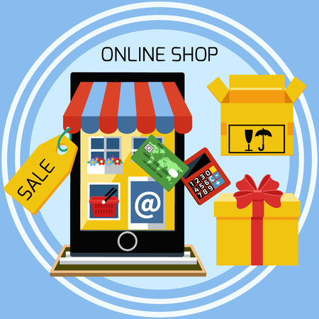 Internet shopping concept smartphone with awning of buying products via online shop store e-commerce ideas e-commerce symbols sale elements on stylish background Vectores