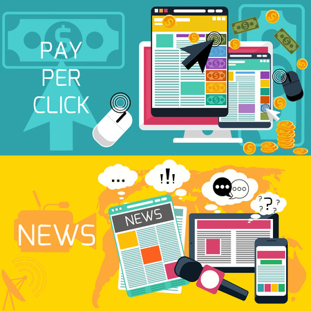 online advertising: Mass media journalism news concept flat business icons of newspaper paparazzi profession. Pay per click internet advertising model when the ad is clicked