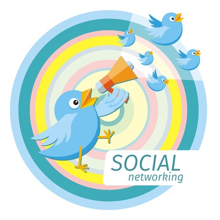 social gathering: Social media communication network concept. Birdie holding megaphone from which fly blue birds cartoon design style