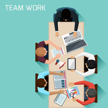 discussion meeting: Office teamwork workers business management meeting and brainstorming on square table in top view flat design cartoon style