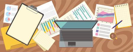 vista desde arriba: Vista superior port�til, libreta, l�piz sobre papel con n�meros y gr�ficos en un escritorio en la oficina. Vista desde arriba