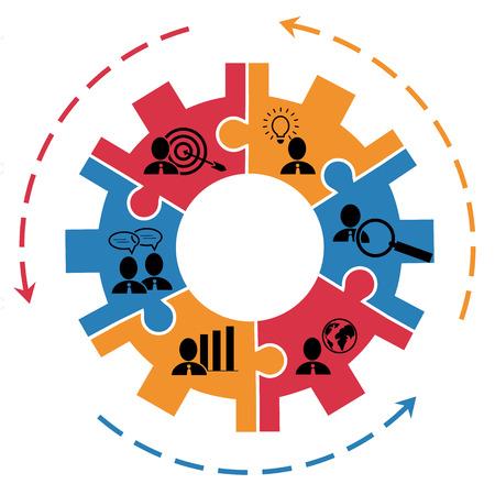 lluvia de ideas: Concepto de plan de negocios de gesti�n de proyectos con el engranaje y pictogramas Vectores