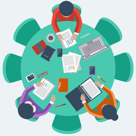 les travailleurs au travail d'équipe de bureau de réunion de gestion d'entreprise et de remue-méninges sur la table ronde en vue de dessus style cartoon design plat