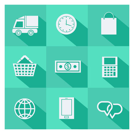 us paper currency: Set of online shopping elements and ecommerce symbol icons with long shadows on green background Illustration