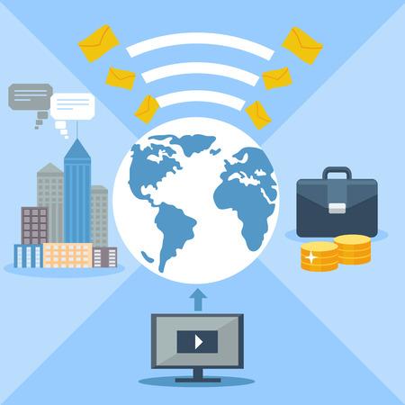 globális kommunikációs: Concept for email marketing, social media, global communication with computer and globe Illusztráció