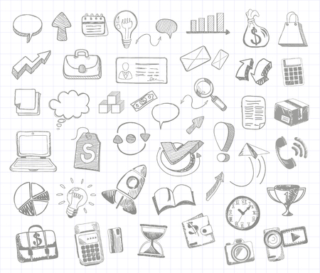 Set of doodle business management infographics elements icons on background in the box. Sketch collection of man bubble graph letter badge magnifying glass lightbulb chart arrow bow card Vector