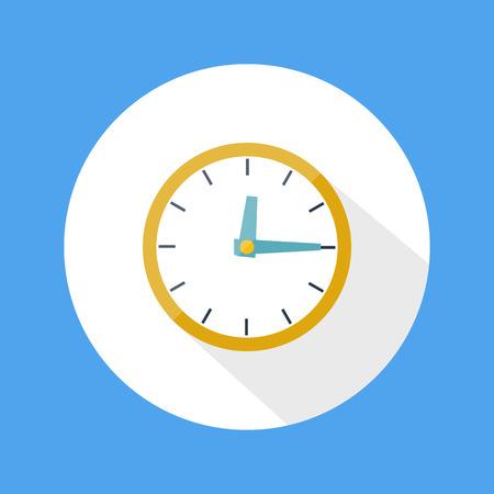 office clock: Dise�o plano reloj redondo de la oficina con una larga sombra Vectores