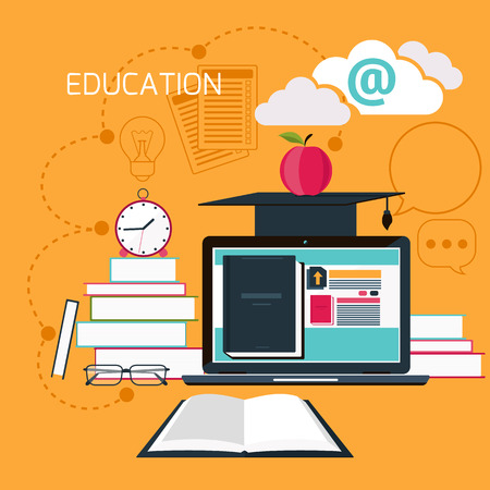 computer education: Set icons for education, online education, professional education in flat design style