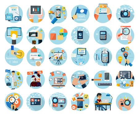 medios de comunicacion: Conjunto de iconos para diseño web, marketing digital, entrega, pago, tienda en línea, contenido, negocios, medios de comunicación social, venta de ropa en diseño plano Vectores