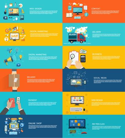 klik: Icons set banners voor web design, digitale marketing, levering, betaling, online shop, content, zakelijke, sociale media, pay per click in plat ontwerp Stock Illustratie