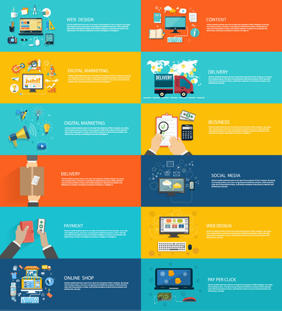 Web デザイン、デジタル マーケティング、配送、お支払い、オンライン ショップ、コンテンツ、ビジネス、ソーシャル メディアのアイコン セット   イラスト・ベクター素材