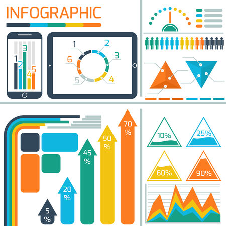 informational: Template infographic for IT technology with digital tablet, smartphone, and informational graphics and diagrams