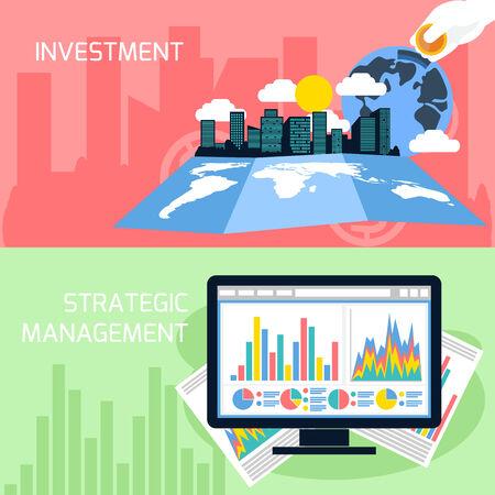 Flache Design-Konzept von Business Analytics, Planung, strategisches Management und Finanzen, Investitionen