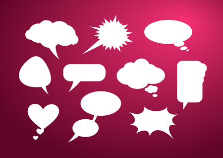 babble: Set of bubble icon on stylish red background paper cartoon design style