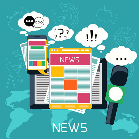Mass media journalism news concept flat business icons of newspaper paparazzi profession live radio for infographics design web elements Stok Fotoğraf - 33568601