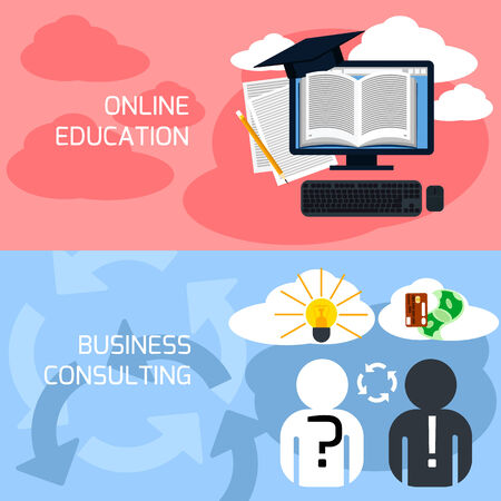 Flat design concept of online education, e- learning, business consulting and professional support Vector