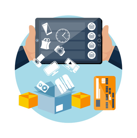 online store: Big sale icons online ecommerce technology concept internet shopping and delivery in flat design style. Goods falling down from screen in box. Commercial processes of purchase order. Customer pays shipping