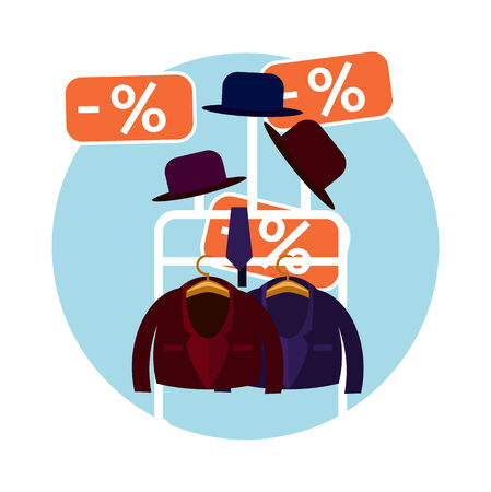 choosing clothes: Perfect clothes and a hat in the store on sale flat design style Illustration