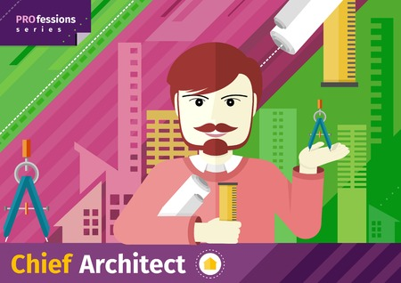 innovator: Professions concept with male chief architect with compasses in hand on industrial background
