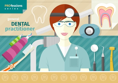 practitioner: Profession concept with female general dental practitioner in uniform in the dentist office Illustration
