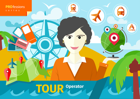 tour operator: Professions concept with female travel agent holding globe with pointers surrounded  elements of travel and tourism