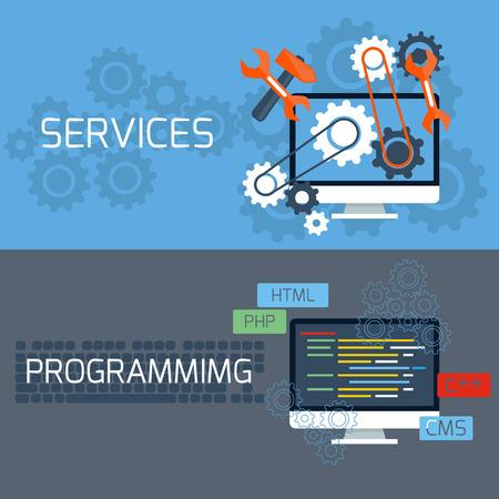 Platte design concept van de programmering en diensten met beeldschermen en toetsenbord