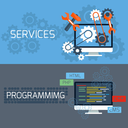 Flat design concept of programming and services with computer monitors and keyboard