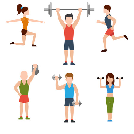 Icons set of man and woman doing warm-up and exercises with kettlebell, barbell and dumbbells on white background