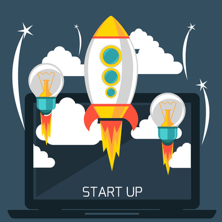 at the start: Business start up idea template. Start up rocket idea. New business project start up, launching new product or service in flat design