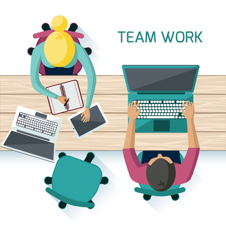 teamwork cartoon: Office teamwork workers business management meeting and brainstorming on square table in top view flat design cartoon style
