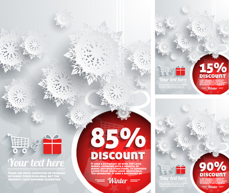 85 90: Merry Christmas background discount percent with snowflake and ball