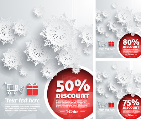 Merry Christmas background discount percent with snowflake and balls Vector