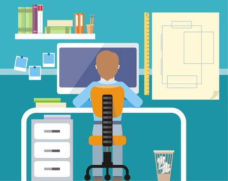 hard work: Engineer sitting on chair at table in front of computer monitor and stand with drawing plan cartoon flat design style
