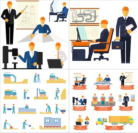 gestion: Conjunto concepto de industria de desarrollo de nuevos productos y procesos de producción, fases de ingeniería y construcción casas de diseño plano Vectores
