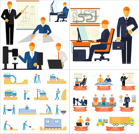 manufacturing occupation: Industrial concept set of development new product and production process, stages of engineering and building houses flat design Illustration