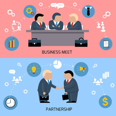 signing document: Concept for business meeting, teamwork, partnership with handshake and discussion at the meeting table of businessmen in suits Illustration