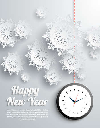 watch new year: Paper snowflakes Happy New Year text with balls and watch on gray background Illustration