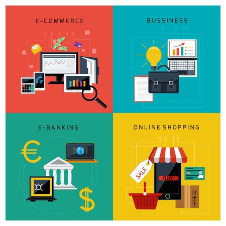 e commerce: Concept voor e-commerce, online bankieren, het bedrijfsleven en online winkelen plat ontwerp