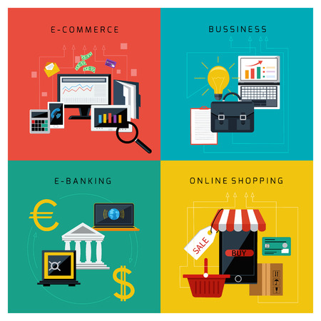 E コマース、オンライン バンキング、ビジネスとフラットなデザインのオンライン ショッピングの設定の概念  イラスト・ベクター素材