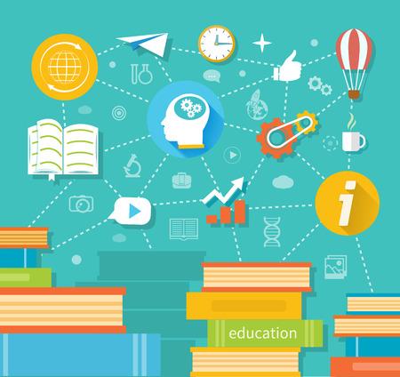 onderwijs: Onderwijs, online onderwijs, beroepsonderwijs in flat design stijl