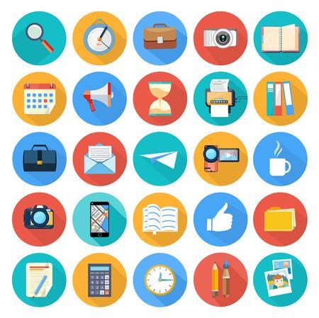 Oggetti di design Web, affari, ufficio e articoli di marketing icone del design piatta