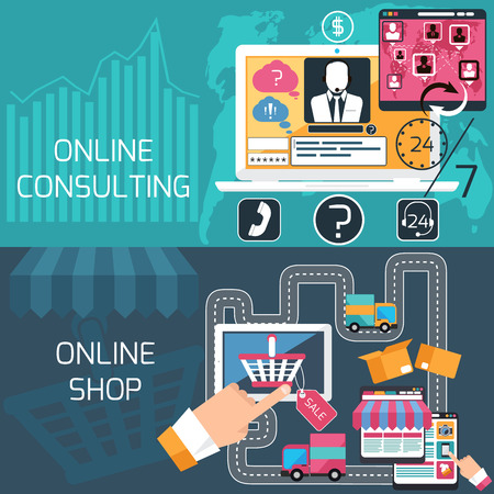 online purchase: Concept of e commerce, online shopping, delivery and online consulting, support service with laptop and digital tablet flat design Illustration