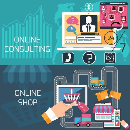 e commerce: Concept van e-commerce, online winkelen, levering en online advies, ondersteuning service met laptop en digitale tablet plat ontwerp