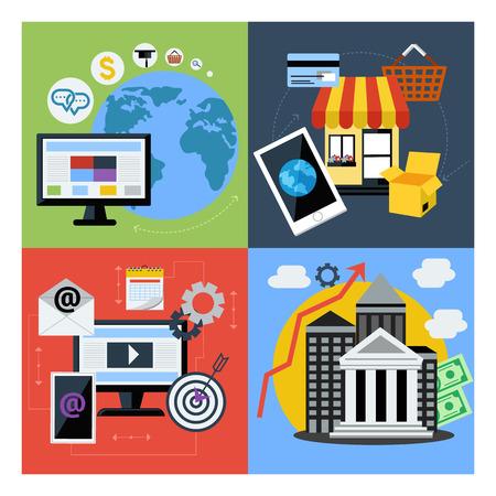 web application: Set Concetto per il marketing digitale, online banking e della finanza, e commerce, applicazioni web e servizio design piatto Vettoriali