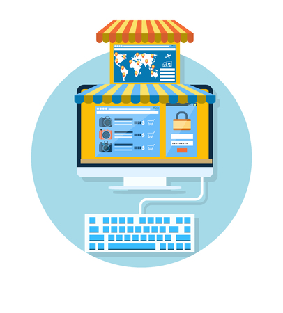 carport: Internet shopping concept computer with awning of buying products via online shop market store flat design