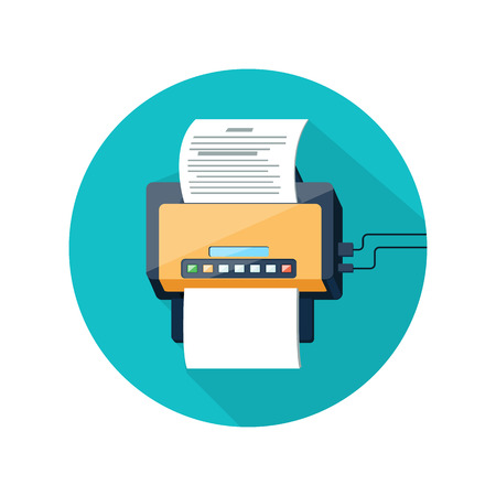 Fax icon with paper page in flat design long shadow style. Icon web and mobile applications of office work