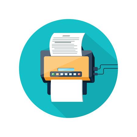 평면 디자인의 긴 그림자 스타일의 용지 페이지가있는 팩스 아이콘. 사무용 웹 및 모바일 응용 프로그램