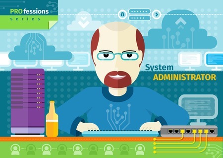 baldness: Profession concept with male system administrator on his workplace with computer in data centre