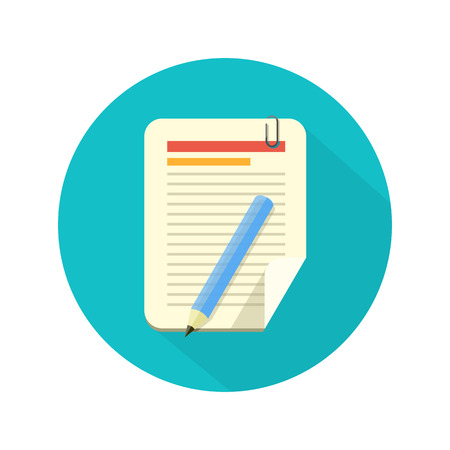 Notebook and pencil icon with long shadow. Flat style