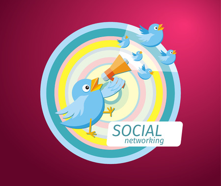 chat room: Social media communication network concept. Birdie holding megaphone from which fly blue birds cartoon design style